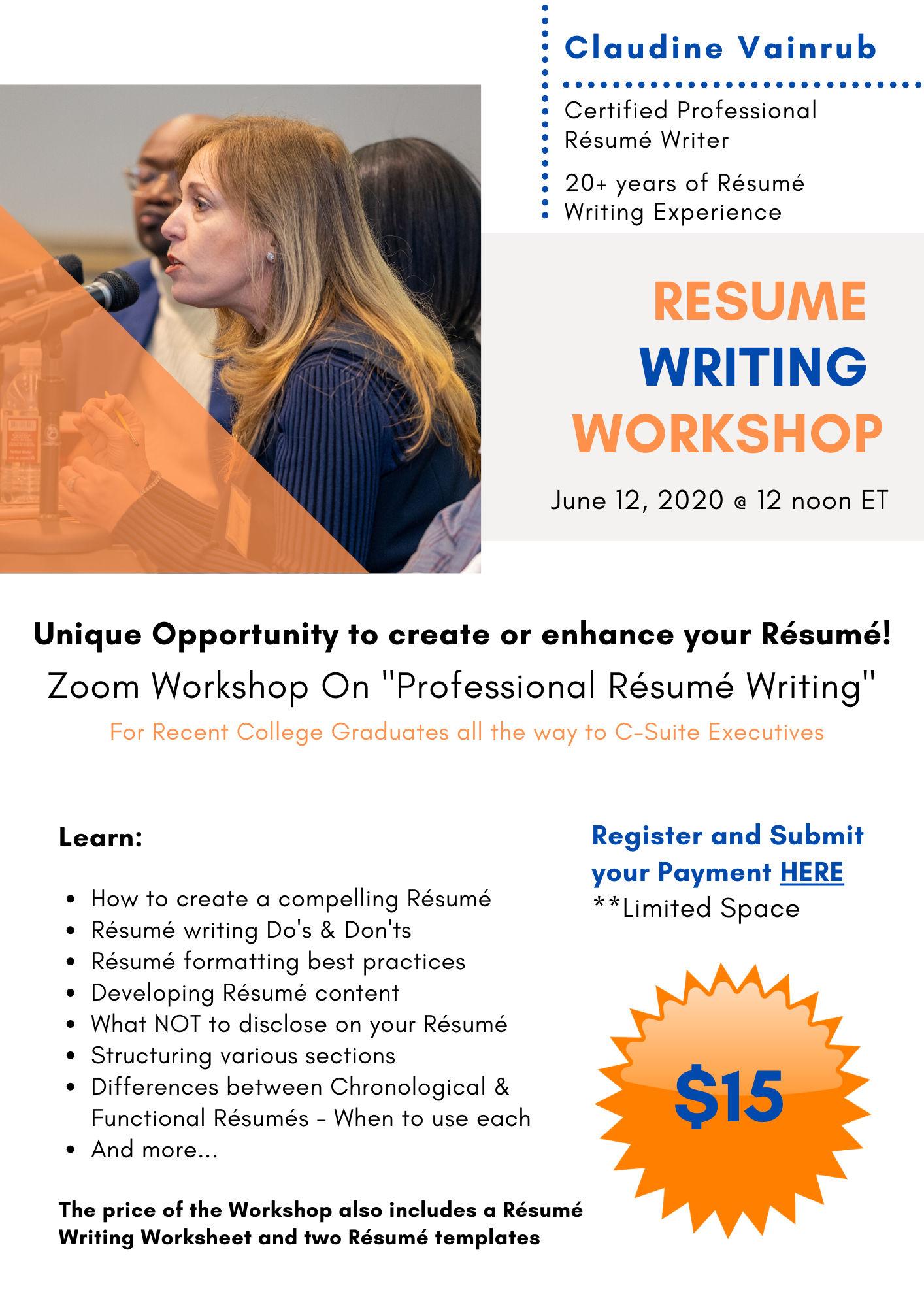 Buy resume for writing workshop
